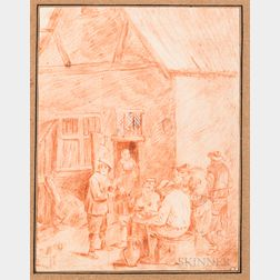 Dutch School, 17th-19th Centuries, Six Framed Drawings: Four Landscapes, a Study of Two Figures, and a Genre Scene Outside a Tavern, Mo