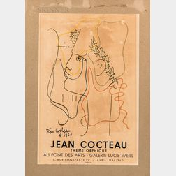 After Jean Cocteau (French, 1889-1963)      Exhibition Poster: Jean Cocteau at Galerie Lucie Weill, April-May, 1960.