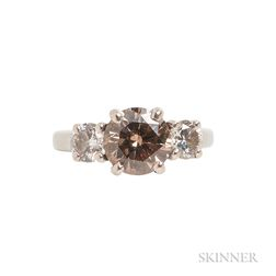 Platinum and Colored Diamond Ring