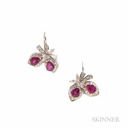 White Gold, Ruby, and Diamond Earrings