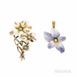 Two Art Nouveau 14kt Gold and Enamel Flower Brooches