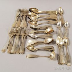 Group of Primarily Massachusetts Coin Silver Flatware