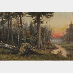 Semyon Sergeievich Platonov (Russian, 1860-1925)      Forest Landscape with Afterglow