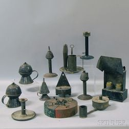 Fifteen Assorted Tin and Tole Lighting Devices