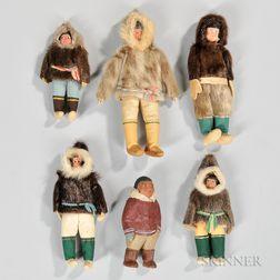Six Grenfell-style Eskimo Dolls