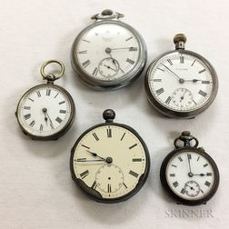 Five Silver Open-faced Pocket Watches