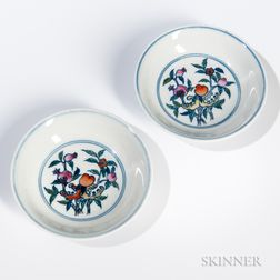 Pair of Small Doucai Enameled Dishes