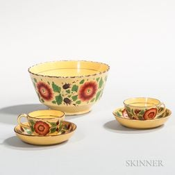 Canary Bowl and Two Teacups and Saucers