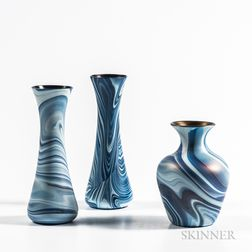 Three Imperial Marbleized Art Glass Vases