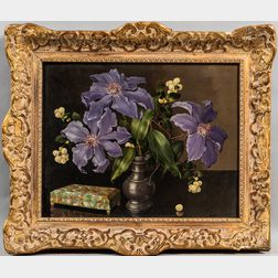 Joannes Baptist Nicolaas van Gent (Dutch, 1891-1974) Still Life with Purple Clematis in a Pewter Pitcher Beside a Mother-of-pearl Box.