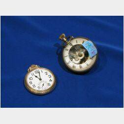 Elgin Gold Case Railroad Pocketwatch and a Crystal and Brass Paperweight Timepiece.