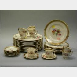 Set of Twelve Old Ivory Glenwood Luncheon Plates, Set of Eight Tatler of Trenton Cake Plates and Eight Demitasse Cups and Eight Saucers