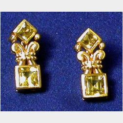 18kt Gold and Yellow Beryl Earrings