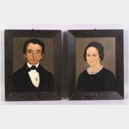 Attributed to William Matthew Prior  (Maine, Baltimore, and Boston, 1806-1873)  Pair of Portraits of a Young Man and Woman.