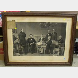 Victorian Carved Walnut Framed Engraving The First Reading of the Emancipation