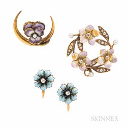 Group of Art Nouveau 14kt Gold and Enamel Flower Jewelry