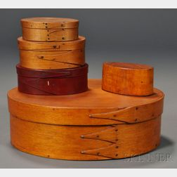 Four Small Lapped-seam Oval Covered Boxes and a Box Form