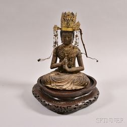 Lacquered Wood Figure of Buddha