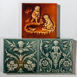 Three Columbia Encaustic Tile Co. Art Pottery Tiles