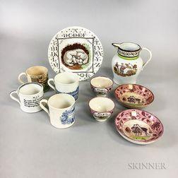 Ten Transfer-decorated Ceramic Tableware Items