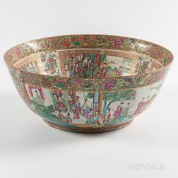 Large Mandarin Export Porcelain Punch Bowl