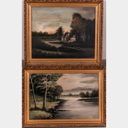 American School, 20th Century      Two Landscape Paintings: Cottage Sunrise