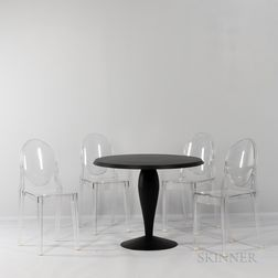 "Philippe Starck (French, b. 1942) for Kartell ""Miss Balu"" Table and Four ""Victoria Ghost"" Side Chairs"