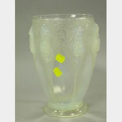 Verlys Molded Opalescent Thistle Glass Vase.
