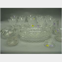 Set of Ten Waterford Water Goblets, an Anglo-Irish Cut Crystal Center Bowl, Lalique Figural Dish Baccarat Vase, Kosta Ashtray and a Pai