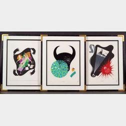 (Romain de Tirtoff) Erté (Russian/French, 1892-1990)   Lot of Five Art Deco Style Prints Including Zodiac Subjects