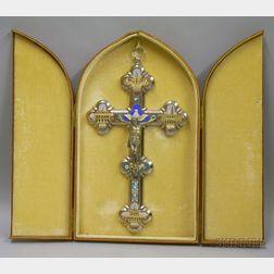 Micromosaic-inset Cast Metal Crucifix