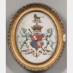 British School, 19th Century      Four Framed Heraldic Coats of Arms