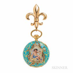 Antique 18kt Gold, Enamel, and Diamond Open-face Pendant Watch