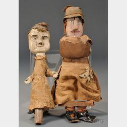 Two Folk Carved and Painted Wooden Puppets