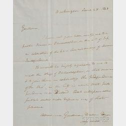 Webster, Daniel (1782-1852) Letter Signed, 28 June 1838.