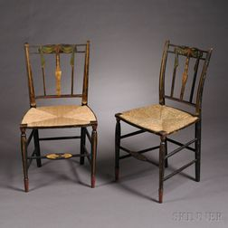 Pair of Paint-decorated and Gilded Fancy Chairs