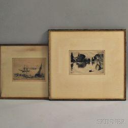 Francis Seymour Haden (British, 1818-1910)      Two Etchings: Brig at Anchor