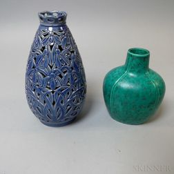 Fischeremil Pottery Reticulated Vase and a Gustavsberg Vase