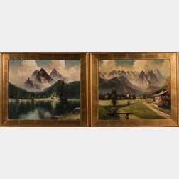 German School, 20th Century    Two Alpine Views: In Werdenfelser Land