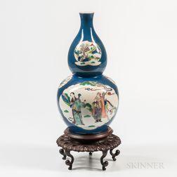 Powder Blue-glazed Polychrome Double Gourd Vase