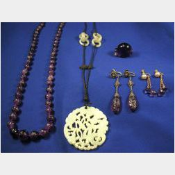 Group of Chinese Carved Amethyst Jewelry