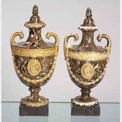 Two Neale Agateware Vases and Covers