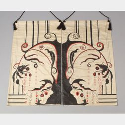 Pair of Art Deco Style Hand-painted Cream Silk Wall Panels.