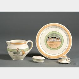 Decorated Pitcher, Plate, Chamberstick and a Covered Box