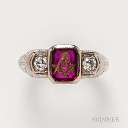 Masonic 18kt White Gold, Ruby, and Diamond Ring