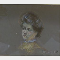 Framed Pastel on Paper Portrait of a Woman in the Manner of Charles Dana   Gibson (American, 1867-1944)