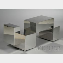 Chromed Metal Cubist Coffee Table