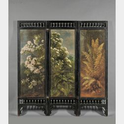 Benjamin Champney (American, 1817-1907)      Three-Panel Floor Screen Painted with Floral Motifs of Ferns, Laurel, and Elderberry