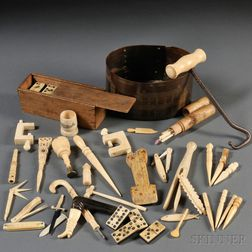 Collection of Small Scrimshaw Items
