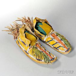 Pair of Southern Cheyenne Beaded Hide Man's Moccasins